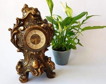 Antique Mercedes Clock, Gold Brass Mantle Clock, Vintage Mechanical Clock