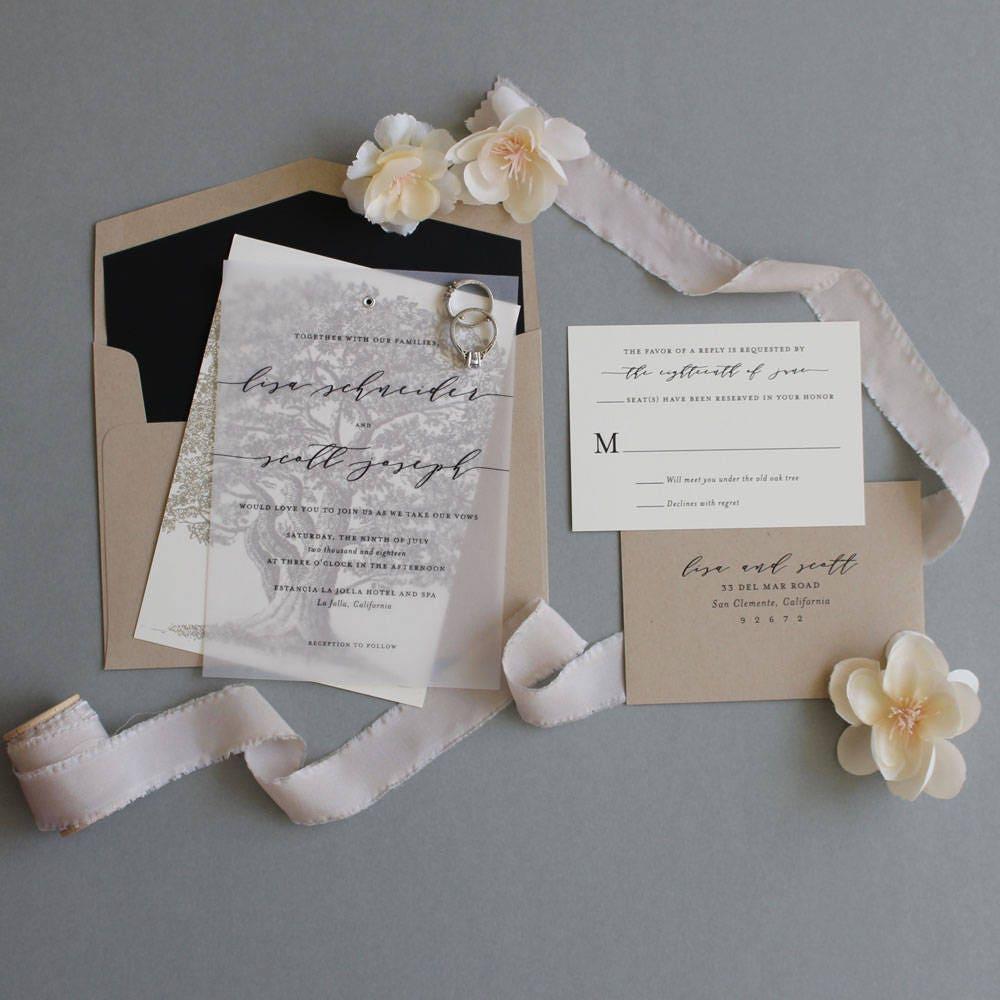 Oak tree wedding invitation vellum wedding invitation tree zoom monicamarmolfo Gallery