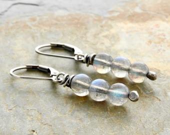 Gray Gemstone Dangle Earrings - Labradorite Earrings - Sterling Silver - Blue Flash Earrings - Lever Back Drop Earrings - Gift for Her #4898