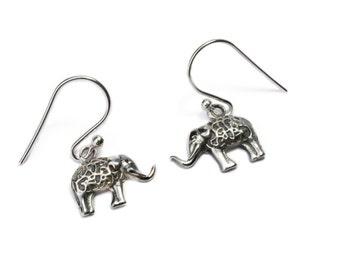 Dainty Sterling Silver Elephant Earrings, handmade, Nature Earrings with hooks, Gift boxed,Free UK post