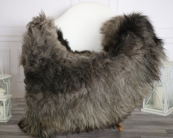 Sheepskin Rug | Real Sheepskin Rug | Shaggy Rug | Sheepskin Throw | Super Large Sheepskin Rug Black Gray | Home Decor | #HERMAJ82