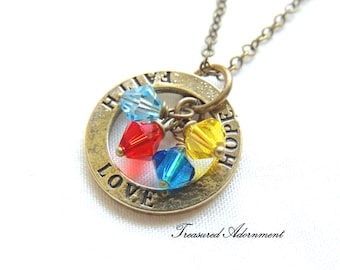 READY TO SHIP, Autism Awareness Necklace, Washer Necklace, Love Hope Faith Necklace, Swarovski Crystals, April, Thank you gift, Autism Mom