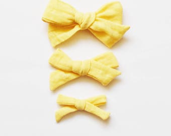 Pastel Yellow Double Gauze Simple Classic Hand tied Fabric Bow Nylon or Clip