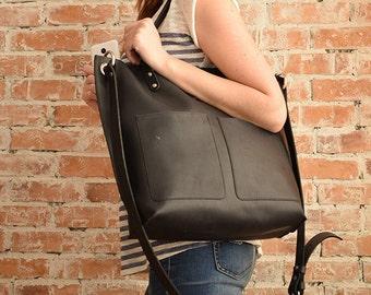 Black leather shoulder bag,Black leather bag,Black bag,Large black tote,Everyday bag,Black shoulder bag,Shoulder bag leather,Handmade bag