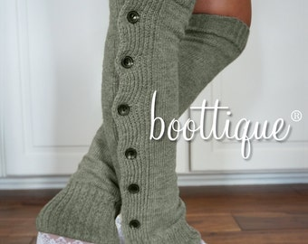 Boot Cozies in London Fog Lace and Button Leg Warmers and Boot Socks (Silver Gray tones)