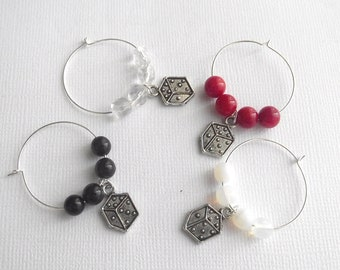 High Roller Dice Wine Charms Set of 4