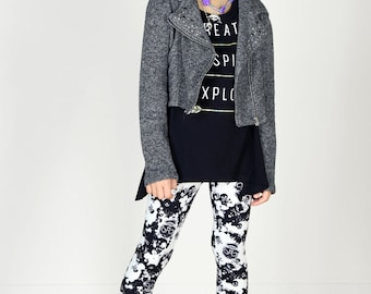 Kids/Girls Grunge 90's Black and White Skull Camo Printed Leggings for Riot Grrrls, Punk and Goth Kids