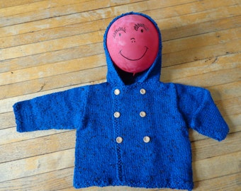 Hand-Knit Children's Navy Blue Double-Breasted Hoodie Size 18 Months