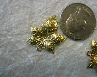 Vintage Small Brass Maple Leaves   NOS (5)