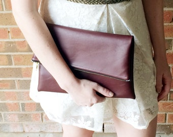 Maroon Vegan Leather Foldover Clutch - Gift for her, Birthday, Anniversary, Bridesmaid