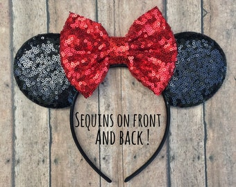 Classic Mickey Mouse Ears, Mickey Ears, Mouse Ears Headband, Mickey Mouse Ears, Red and Black Mickey Ears, Sequined Mickey Ears, Disney Land