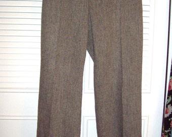 Pants 12, Vintage Ann Taylor Herringbone Tweed Pants - Career Staple Size 12