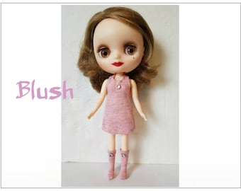 BLUSH Dress and Boots - handmade fashion for Middie Blythe dolls  - by dolls4emma