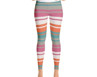 Yoga Leggings in striped motif SUNSET with vivid colors