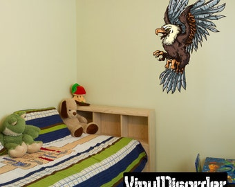 Eagle Wall Decal - Wall Fabric - Vinyl Decal - Removable and Reusable - EagleUScolor002ET