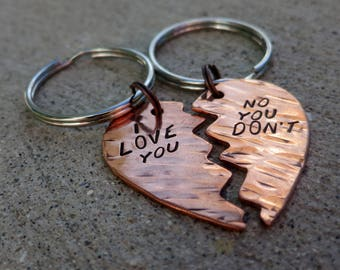 Buffy the Vampire Slayer quote - I love you / no you don't - Hand Stamped Valentine heart keychain set