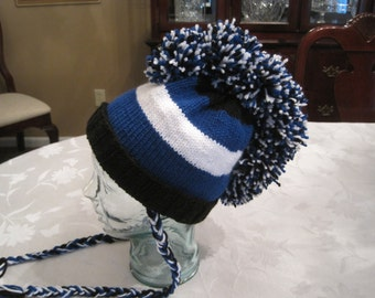 Hand Knit Boys Blue Black and White Mohawk Hat - Ages 5-12 - READY TO SHIP