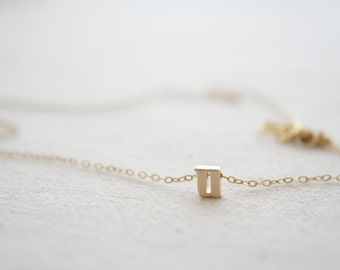 "Gold Letter, Alphabet, Initial  ""u"" necklace, birthday gift, lucky charm, layered necklace, trendy"