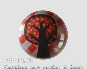 Glass cabochon 25 mm tree drawing naive ref 382