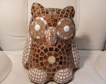 OWL mosaic OWL and polyester resin