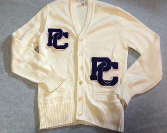 Vintage Sportswear Letter Cardigan Varsity Sweater Jacket Cream PC Purple