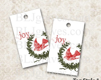 Christmas Gift Tags Joy Vintage Style Party Favor House Warming Treat Bag Tag Handmade TC026