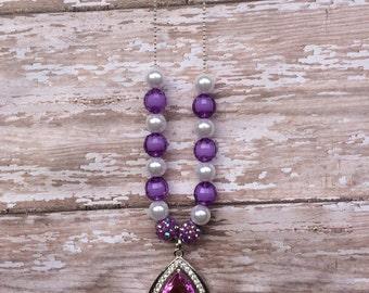 Princess amulet necklace.. Purple amulet.. Amulet necklace.. Girls necklace