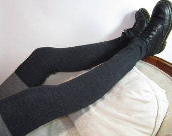 Wool Over the Knee Socks Leg Warmers Charcoal Gray Knit Thigh Highs A1002