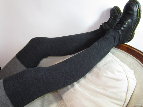 Wool Over the Knee Socks Leg Warmers Charcoal Gray Knit Thigh