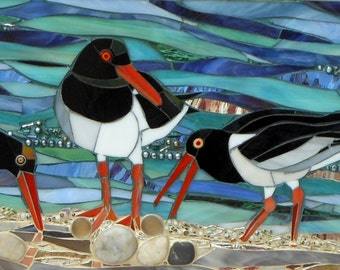 Oystercatchers Card - Art Card - Blank Greetings Card - Mosaic Art - Birthday Card - Bird Card - Oystercatcher Print - Bird Art