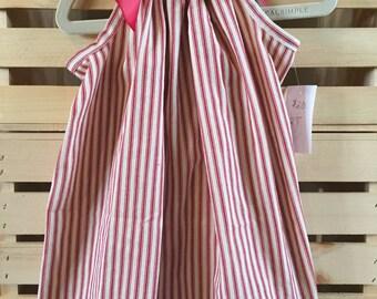 Girls Ticking Stripe Pillowcase Dress - Red or Blue