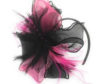 Black and Fuchsia Pink Chiffon Feathers Fascinator Headband Ascot Wedding