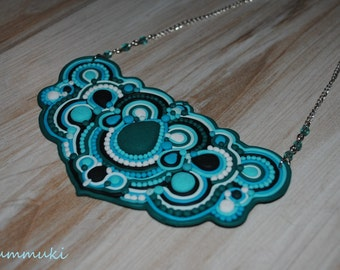 Polymer clay soutache necklace