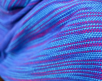 Hand woven and dyed colour pooling cotton scarf, vivid
