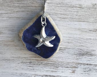 Cobalt Blue Sea Pottery Necklace, Atlantic Sea Pottery Necklace, Cobalt Sea Necklace, Beach Bridal Wedding, Starfish Sea Pottery Necklace