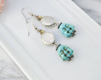 Turquoise earrings - metal and pyrite