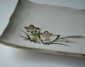 Ceramic sushi plate with handpainted decoration - made in Japan