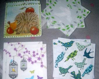 LOT 8 napkins = birds and Hedgehog