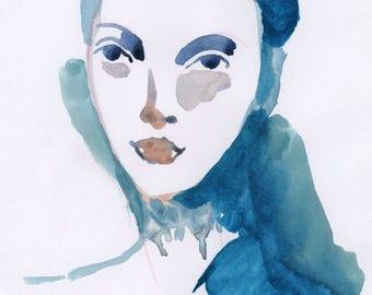 Original watercolor painting of woman in blue