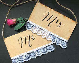 Mr & Mrs wedding chair signs, wedding sign, wedding plaque, rustic wedding decor, wedding decoration, wedding styling