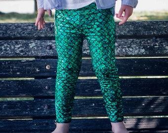 Mermaid leggings Green & Black Baby Toddler metallic Birthday fish scale pants 3 6 12 18 24 months 2T 3T 4T 5T 6 7 costume girls