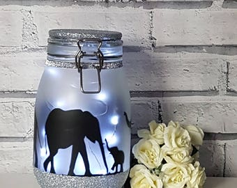 Elephant Night Light, Elephant Lamp, Elephant Decor,Elephant Nursery Decor,Elephant Decal,Elephant Gifts,Elephant Light,Fairy Light Jar
