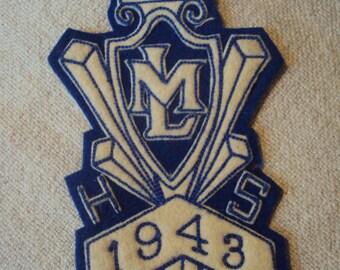 Vintage  1940s  Large Langhorne Middletown High School  Pennsylvania Felt Sew On Patch 1943