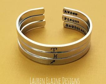 Zodiac Sign Hand Stamped Cuff Bracelet- Capricorn Aquarius Pisces Aries Taurus Gemini Cancer Leo Virgo Libra Scorpio Sagittarius