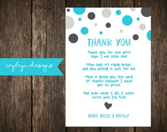 Blue & Grey   Baby Shower or Sprinkle   Thank you Card   Personalized   Printable file