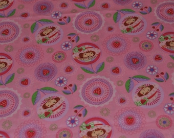 Strawberry Shortcake Fabric - Cotton - Spectrix, 2004 - Pink Girly Fabric - Size 37.4 x 43.3 inches