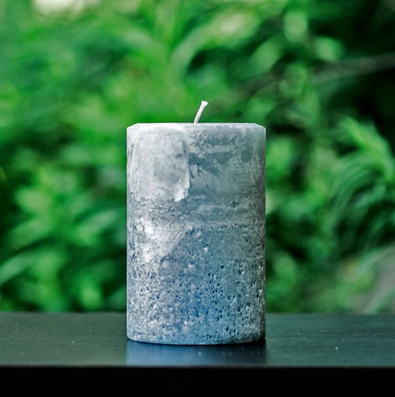 Stone Gray Rustic Large 4 Wide Pillar Candle Choose