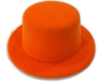 """5"""" Orange Mini Flocked Felt Top Hats"""