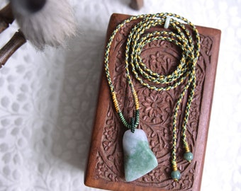 Jade pendant adjustable long necklace. Traditional Chinese knotting art knotted necklace. READY TO SHIP/style093