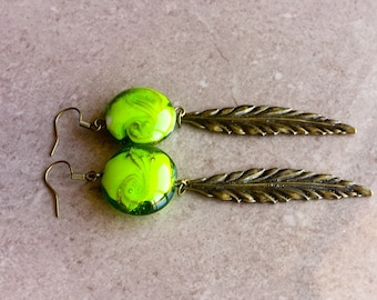 Olive green earrings. Lime green  earrings.